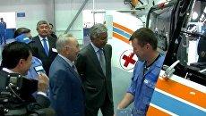 Назарбаев проверил, насколько удобен вертолет ЕС 145 казахской сборки