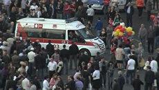 Взрыв воздушных шаров на митинге в Ереване. Кадры с места ЧП