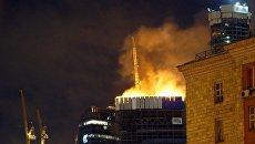 Пожар в центре Москва Сити репортер