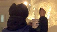 Жители Читы в сорокаградусные морозы вырезали ледяные скульптуры