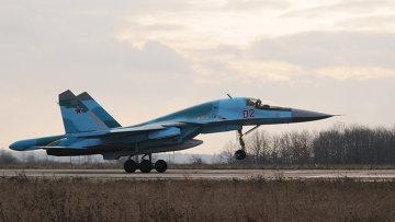 Встреча бомбардировщиков Су-34, прилетевших из Новосибирска в Воронеж. Архив
