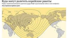 Радиус поражения возможного ракетного удара КНДР и расположение войск в зоне конфликта