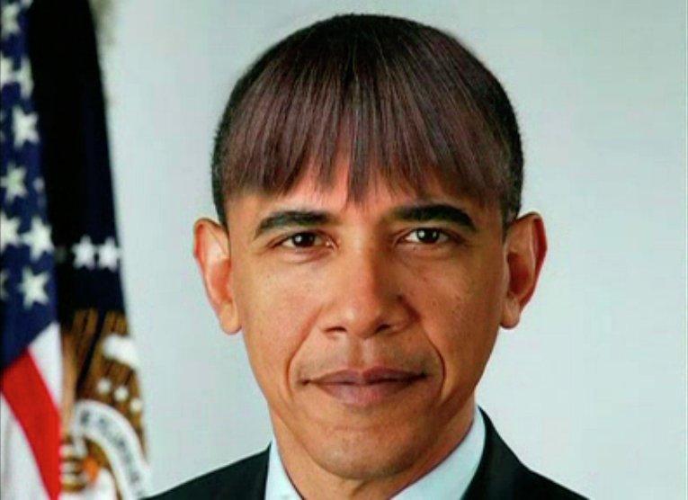 Фотография Барака Обамы с челкой его жены Мишель