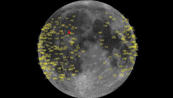 Места падений метеоритов на Луне с 2005 года, удар 17 марта отмечен красным квадратом