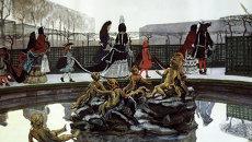 Картина Бенуа Прогулка короля из собрания Государственной Третьяковской галереи. Архивное фото