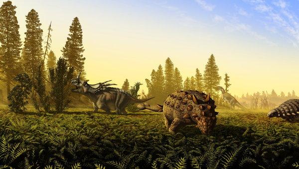 Динозавры позднего мелового периода – цератопс (слева), гадрозавр (на заднем плане), анкилозавры (центр и справа)