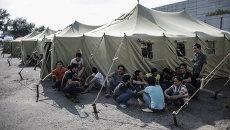 Палаточный лагерь для мигрантов в Москве