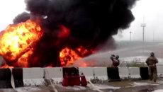 Столб огня и черного дыма. Кадры пожара на нефтебазе в Приангарье