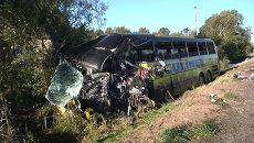 Кадры с места столкновения автобусов под Псковом, где погибли восемь человек