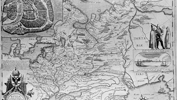 Карта России, выполненная на основе чертежа 1600-1605 годов