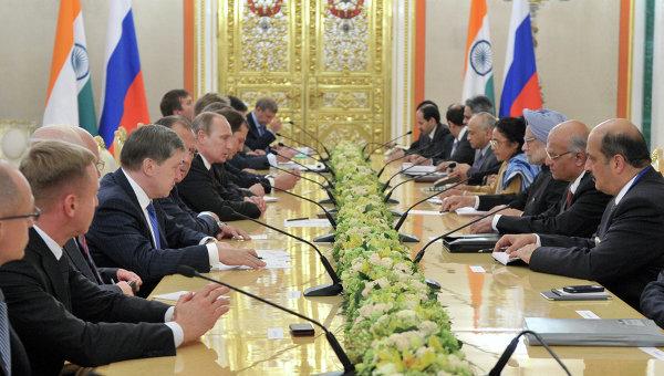 Встреча В.Путина с М.Сингхом
