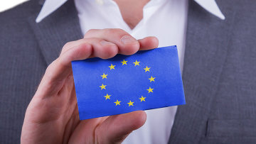 Визитка с флагом ЕС, архивное фото