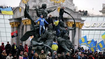 Митинг сторонников евроинтеграции на Майдане Незалежности в Киеве