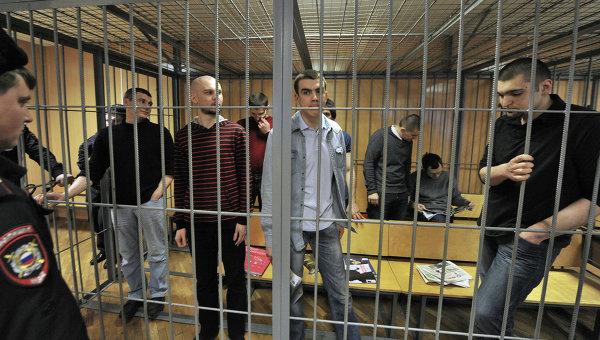 Обвиняемые по делу о массовых беспорядках на Болотной площади 6 мая 2012