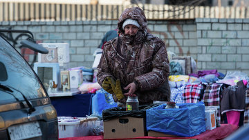 Уличная торговля в морозном Владивостоке