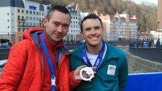 Томич Дмитрий Шипуля и австралийский фристайлист Дэвид Моррис во время Олимпиады в Сочи