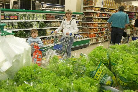 Листья салата в супермаркете