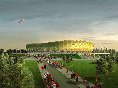 Макет стадиона Балтика в Калининграде, который будет построен к чемпионату мира по футболу 2018 года.