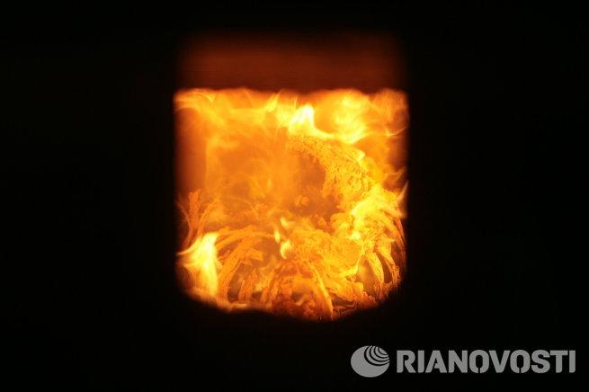 Огонь в кремационной печи