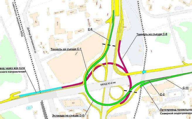 Схема дорожного движения на пересечении Дмитровского шоссе и МКАД