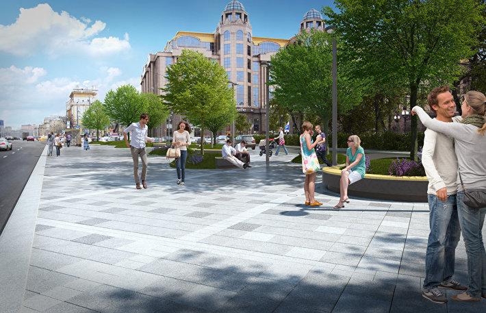 Места отдыха и пешеходная зона на Кудринской площади
