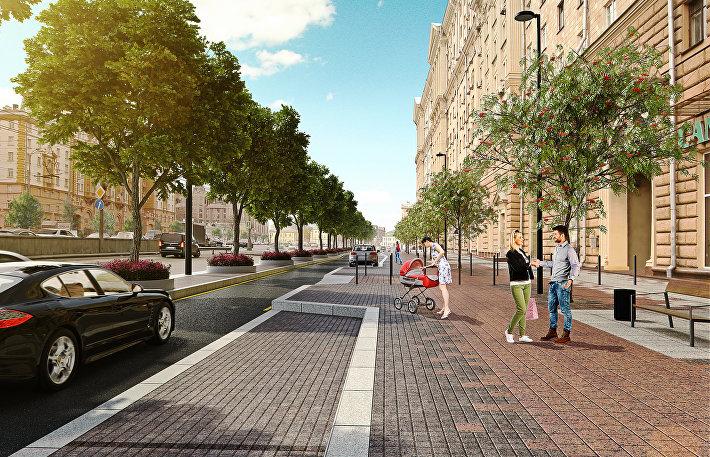 Зеленая полоса на Новинском бульваре