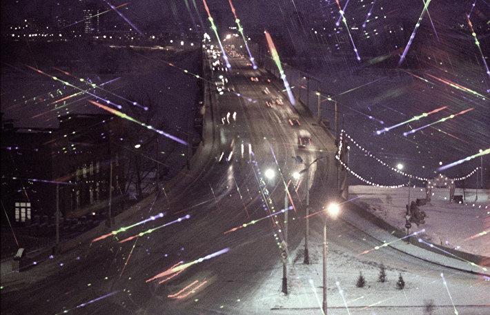 Вечерние огни в городе Красноярске