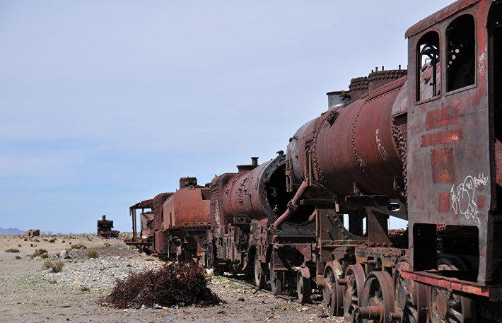 Старые паровозы в Боливии