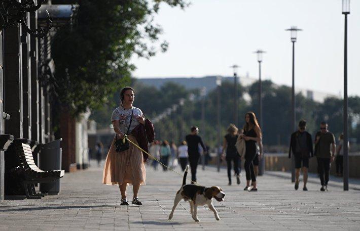 Благоустроенные улицы и площади Москвы в рамках программы Моя Улица. Пешеходная часть Якиманской набережной.